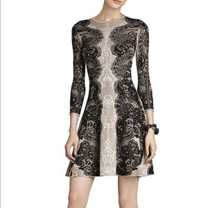 BCBG Alma relief-jacquard lace A-line dress